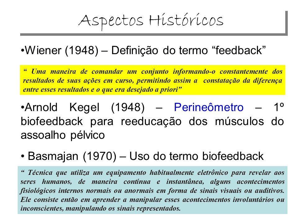 Aspectos Históricos •Wiener (1948) – Definição do termo feedback •Arnold Kegel (1948) – Perineômetro – 1º biofeedback para reeducação dos músculos do assoalho pélvico • Basmajan (1970) – Uso do termo biofeedback Uma maneira de comandar um conjunto informando-o constantemente dos resultados de suas ações em curso, permitindo assim a constatação da diferença entre esses resultados e o que era desejado a priori Técnica que utiliza um equipamento habitualmente eletrônico para revelar aos seres humanos, de maneira contínua e instantânea, alguns acontecimentos fisiológicos internos normais ou anormais em forma de sinais visuais ou auditivos.