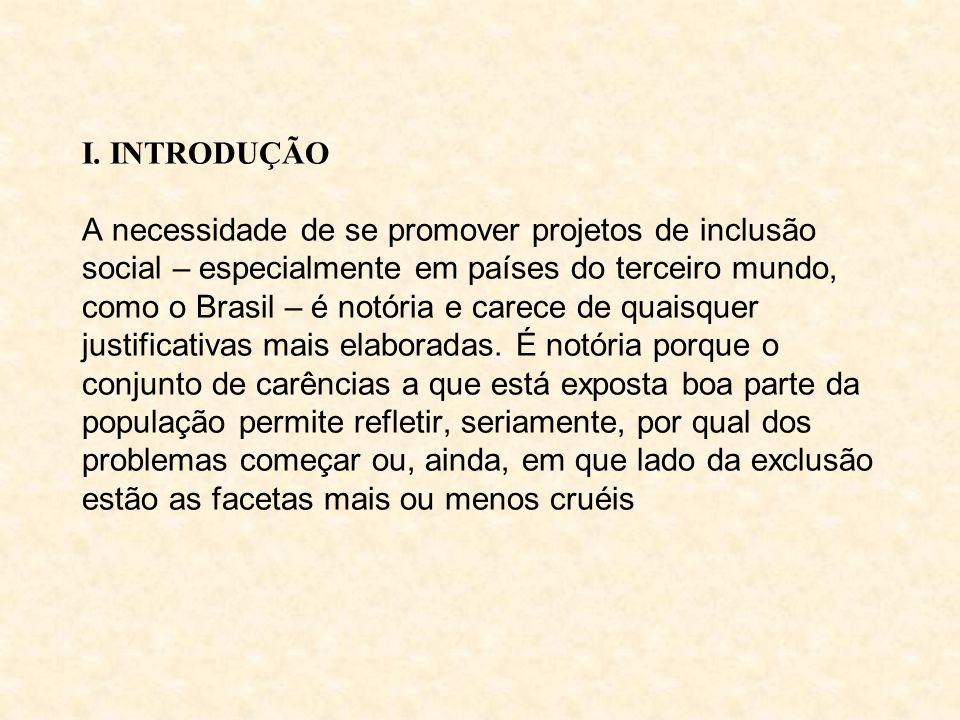 I. INTRODUÇÃO A necessidade de se promover projetos de inclusão social – especialmente em países do terceiro mundo, como o Brasil – é notória e carece