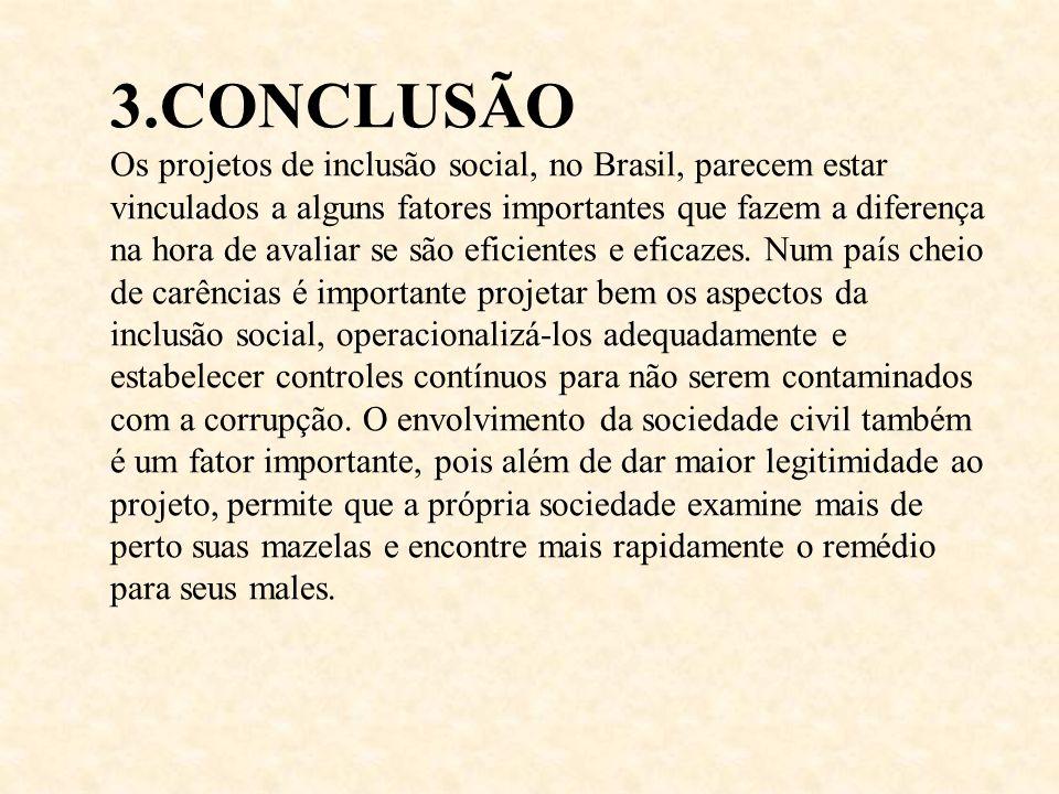 3.CONCLUSÃO Os projetos de inclusão social, no Brasil, parecem estar vinculados a alguns fatores importantes que fazem a diferença na hora de avaliar se são eficientes e eficazes.