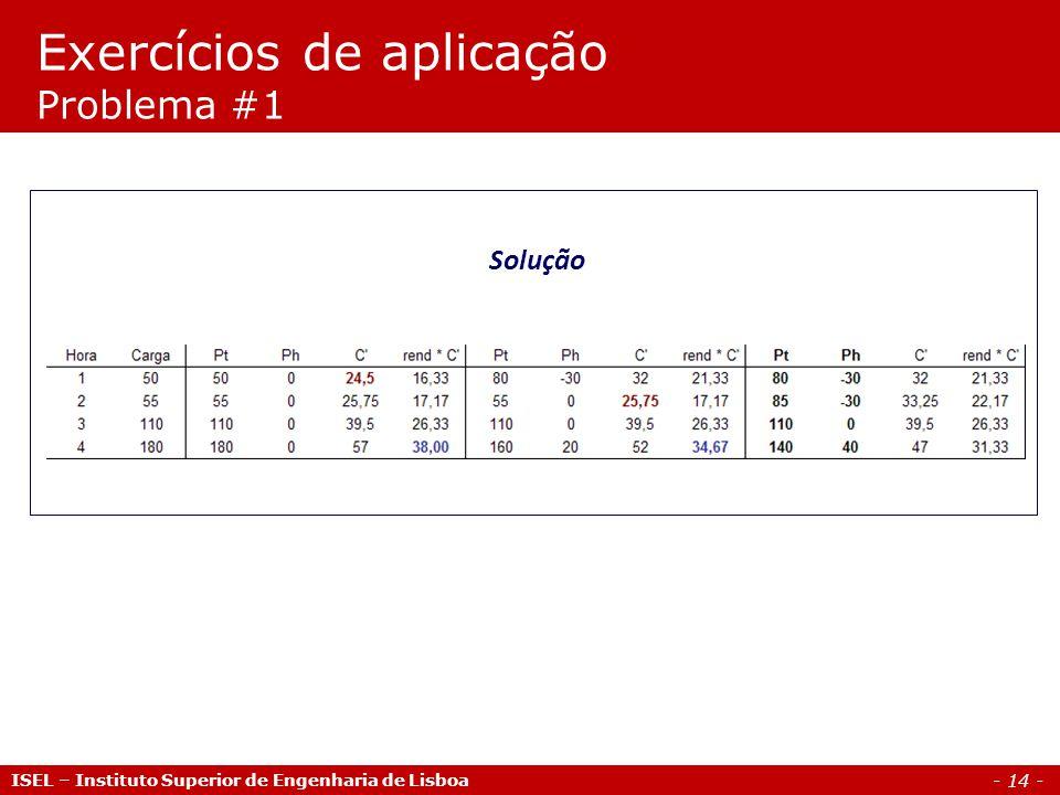 - 14 - ISEL – Instituto Superior de Engenharia de Lisboa Solução Exercícios de aplicação Problema #1