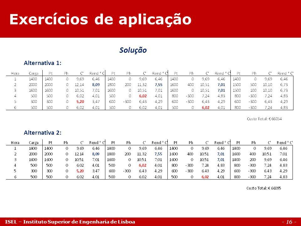 - 16 - ISEL – Instituto Superior de Engenharia de Lisboa Exercícios de aplicação Solução Alternativa 1: Alternativa 2: