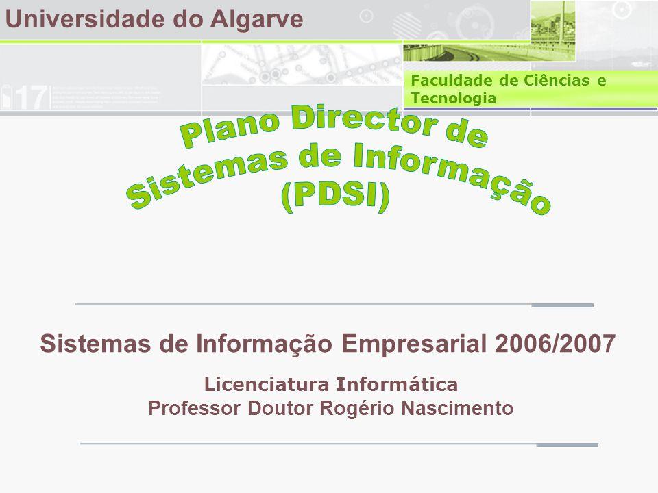 Plano Director de Sistemas de Informação Referências • Nascimento, Rogério - aulas teóricas SIE • Amaral, Luís et al, Planeamento de Sistemas de Informação • Varajão, João et al - Arquitectura da Gestão de Sistemas de Informação • Laudon & Laudon - Management Information Systems, 2006 • CESCE SI, Setembro de 2005, As vantagens de um Plano Director para os Sistemas de Informação , http://www.cesce.pt/knowCenter/AsVantagensPD.htm http://www.cesce.pt/knowCenter/AsVantagensPD.htm • CESCE SI, Abril de 2006, Plano Director para a Gestão dos Sistemas de Informação , http://www.cesce.pt/knowCenter/PlanoDirectorParaGestaoSI.htm http://www.cesce.pt/knowCenter/PlanoDirectorParaGestaoSI.htm