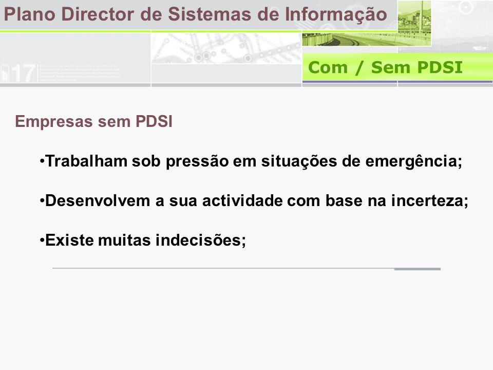Plano Director de Sistemas de Informação Com / Sem PDSI Empresas sem PDSI •Trabalham sob pressão em situações de emergência; •Desenvolvem a sua actividade com base na incerteza; •Existe muitas indecisões;