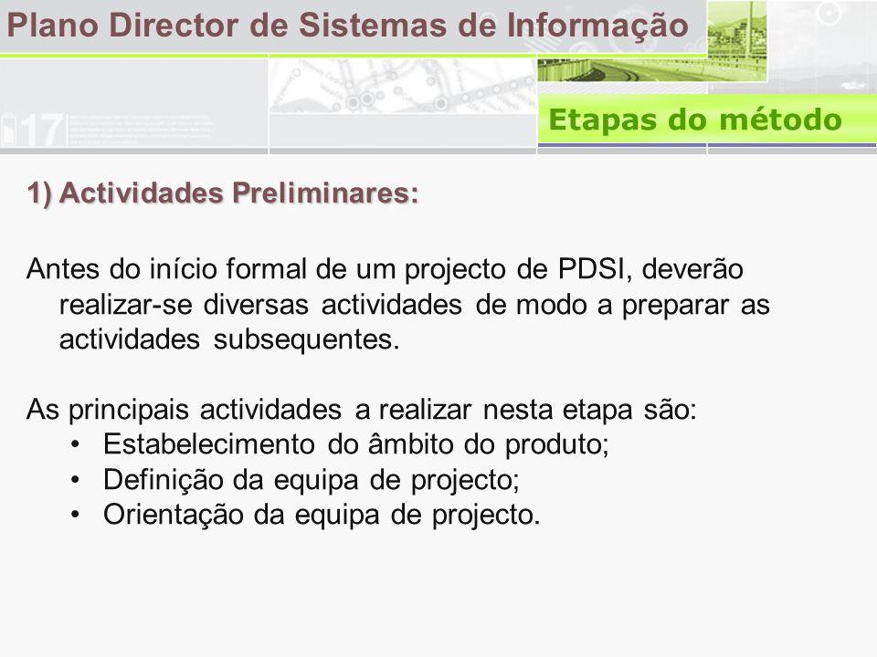 1) Actividades Preliminares: Plano Director de Sistemas de Informação Antes do início formal de um projecto de PDSI, deverão realizar-se diversas actividades de modo a preparar as actividades subsequentes.