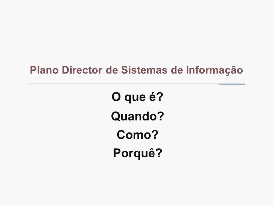 Plano Director de Sistemas de Informação O que é Como Quando Porquê