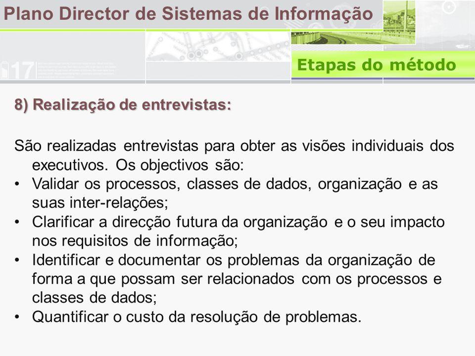 8) Realização de entrevistas: Plano Director de Sistemas de Informação São realizadas entrevistas para obter as visões individuais dos executivos.