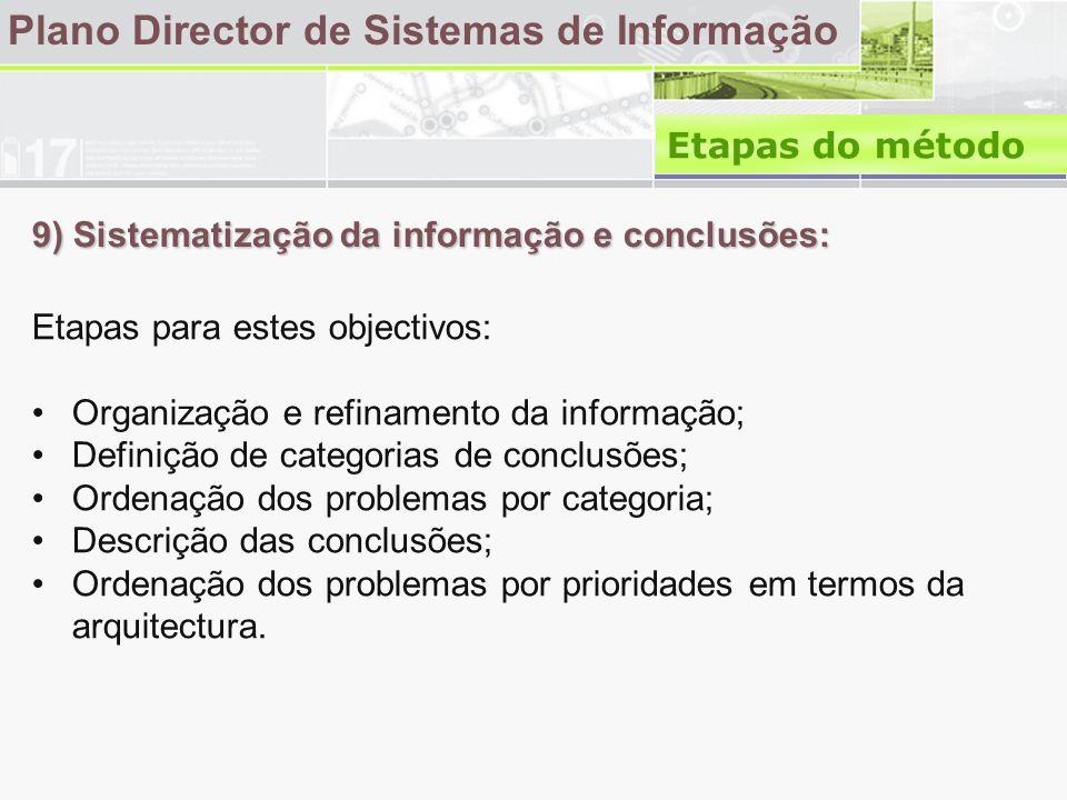 9) Sistematização da informação e conclusões: Plano Director de Sistemas de Informação Etapas para estes objectivos: •Organização e refinamento da informação; •Definição de categorias de conclusões; •Ordenação dos problemas por categoria; •Descrição das conclusões; •Ordenação dos problemas por prioridades em termos da arquitectura.