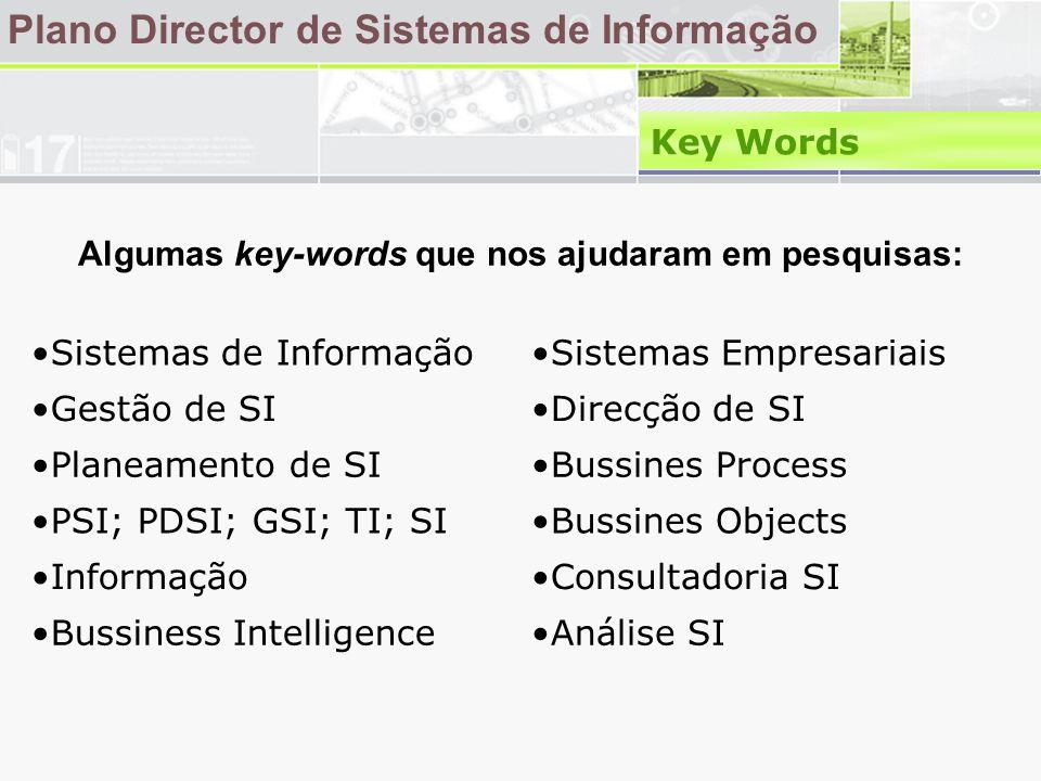 Plano Director de Sistemas de Informação Key Words Algumas key-words que nos ajudaram em pesquisas: •Sistemas de Informação•Sistemas Empresariais •Gestão de SI•Direcção de SI •Planeamento de SI•Bussines Process •PSI; PDSI; GSI; TI; SI•Bussines Objects •Informação•Consultadoria SI •Bussiness Intelligence•Análise SI