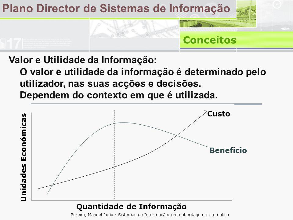 Plano Director de Sistemas de Informação Conceitos Valor e Utilidade da Informação: O valor e utilidade da informação é determinado pelo utilizador, nas suas acções e decisões.