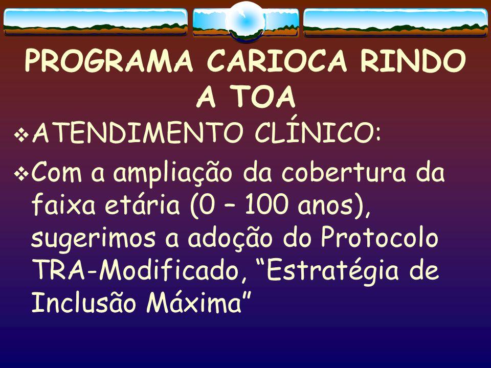 PROGRAMA CARIOCA RINDO A TOA  ATENDIMENTO CLÍNICO:  Com a ampliação da cobertura da faixa etária (0 – 100 anos), sugerimos a adoção do Protocolo TRA