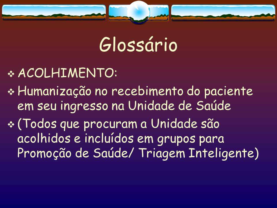 Glossário  ATENÇÃO PROGRAMÁTICA  Atenção em saúde bucal integrada à diversas ações de saúde da Unidade: 