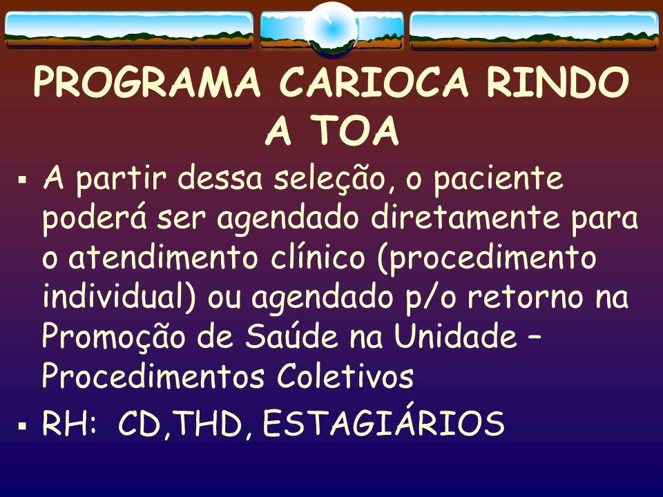 PROGRAMA CARIOCA RINDO A TOA  A partir dessa seleção, o paciente poderá ser agendado diretamente para o atendimento clínico (procedimento individual)