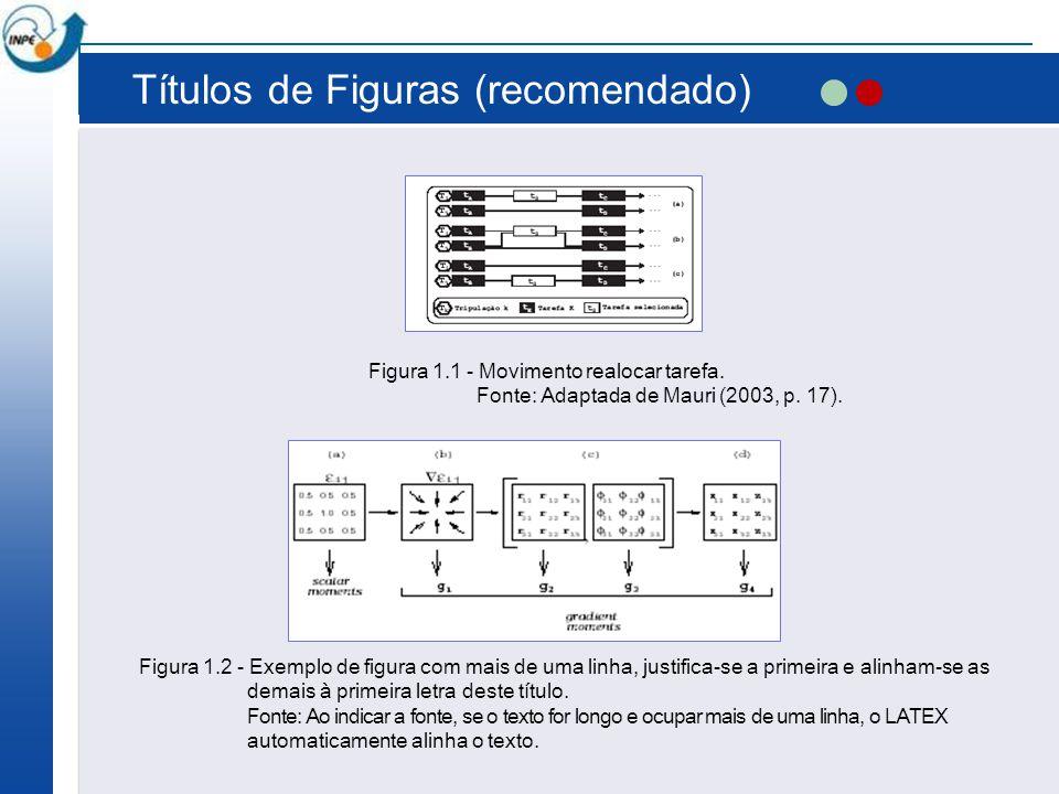 Títulos de Figuras (recomendado) Figura 1.1 - Movimento realocar tarefa. Fonte: Adaptada de Mauri (2003, p. 17). Figura 1.2 - Exemplo de figura com ma