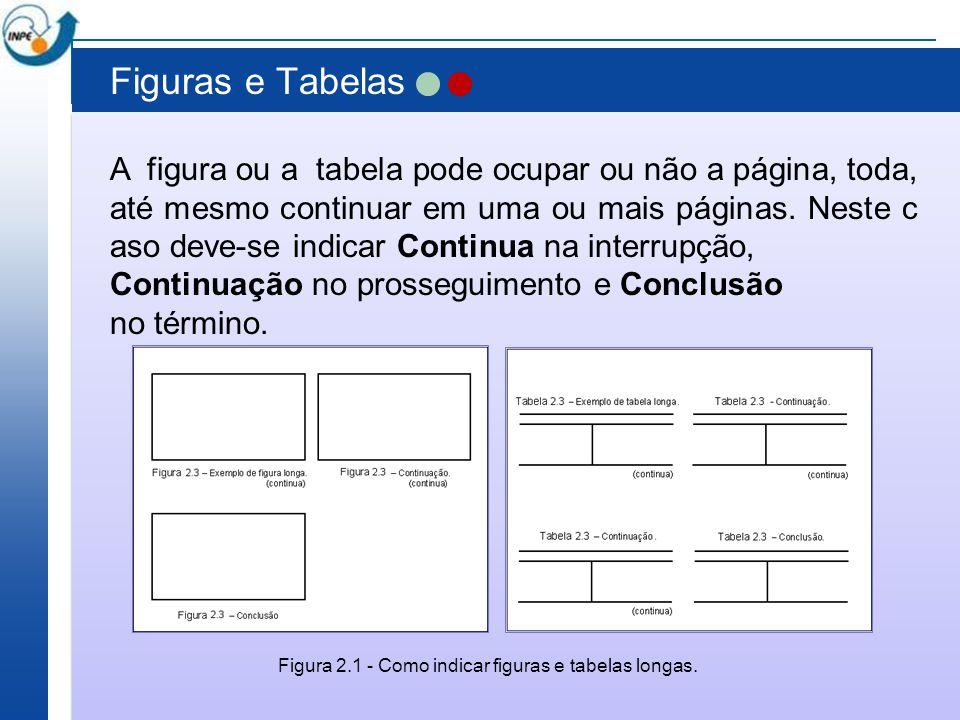 Figuras e Tabelas A figura ou a tabela pode ocupar ou não a página, toda, até mesmo continuar em uma ou mais páginas. Neste c aso deve-se indicar Cont