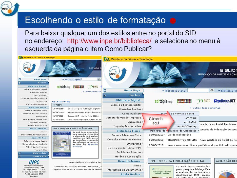Usando o estilo do editor Word Atualmente o SID tem dois estilos em Word: o tdiinpe.dot para Word 2003 e o tdiinpe.dotx para Word 2007.