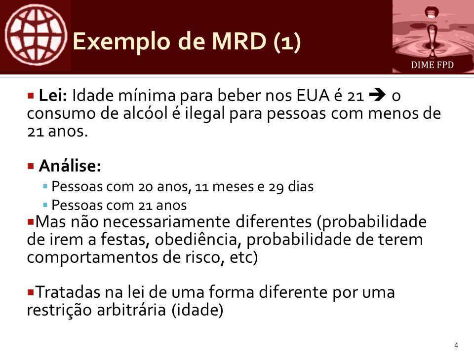 Exemplo de MRD (1)  Lei: Idade mínima para beber nos EUA é 21  o consumo de alcóol é ilegal para pessoas com menos de 21 anos.