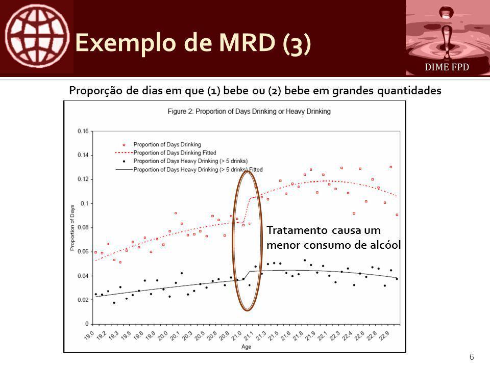 Exemplo de MRD (3) Proporção de dias em que (1) bebe ou (2) bebe em grandes quantidades Tratamento causa um menor consumo de alcóol 6