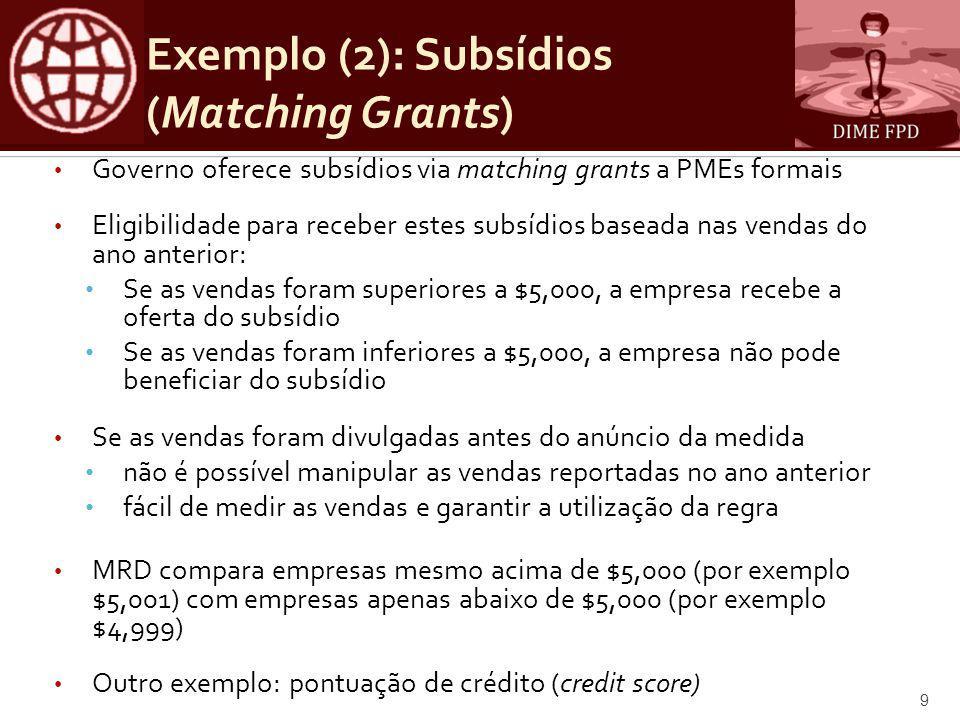 Exemplo: MRD difuso (fuzzy design) • O que acontece se nem todas as empresas com menos de $5000 aderem ao programa.