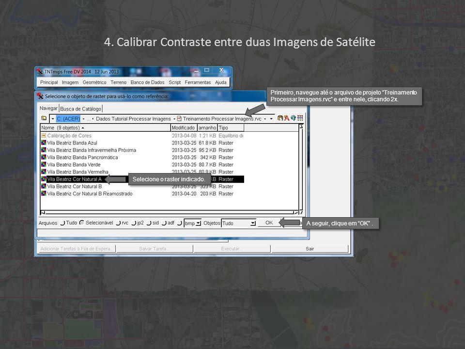"""Selecione o raster indicado. A seguir, clique em """"OK"""". Primeiro, navegue até o arquivo de projeto """"Treinamento Processar Imagens.rvc"""" e entre nele, cl"""
