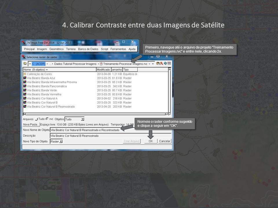 """Primeiro, navegue até o arquivo de projeto """"Treinamento Processar Imagens.rvc"""" e entre nele, clicando 2x. Nomeie o raster conforme sugerido e clique a"""