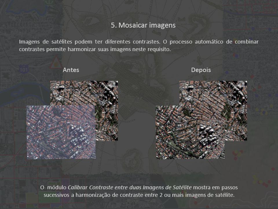 O módulo Calibrar Contraste entre duas Imagens de Satélite mostra em passos sucessivos a harmonização de contraste entre 2 ou mais imagens de satélite