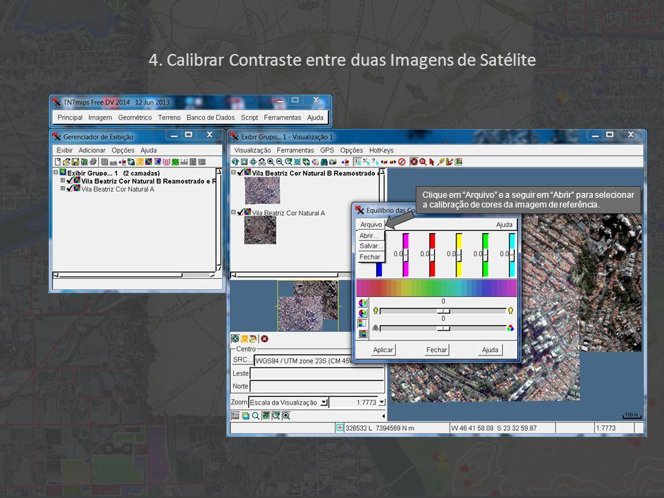 """Clique em """"Arquivo"""" e a seguir em """"Abrir"""" para selecionar a calibração de cores da imagem de referência. 4. Calibrar Contraste entre duas Imagens de S"""