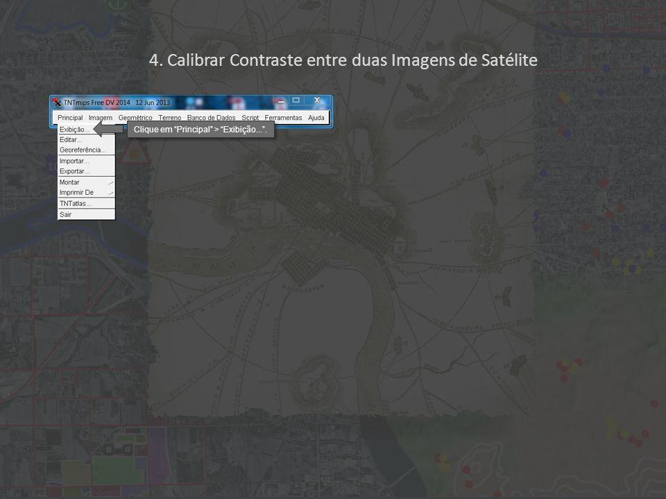 """4. Calibrar Contraste entre duas Imagens de Satélite Clique em """"Principal"""" > """"Exibição...""""."""