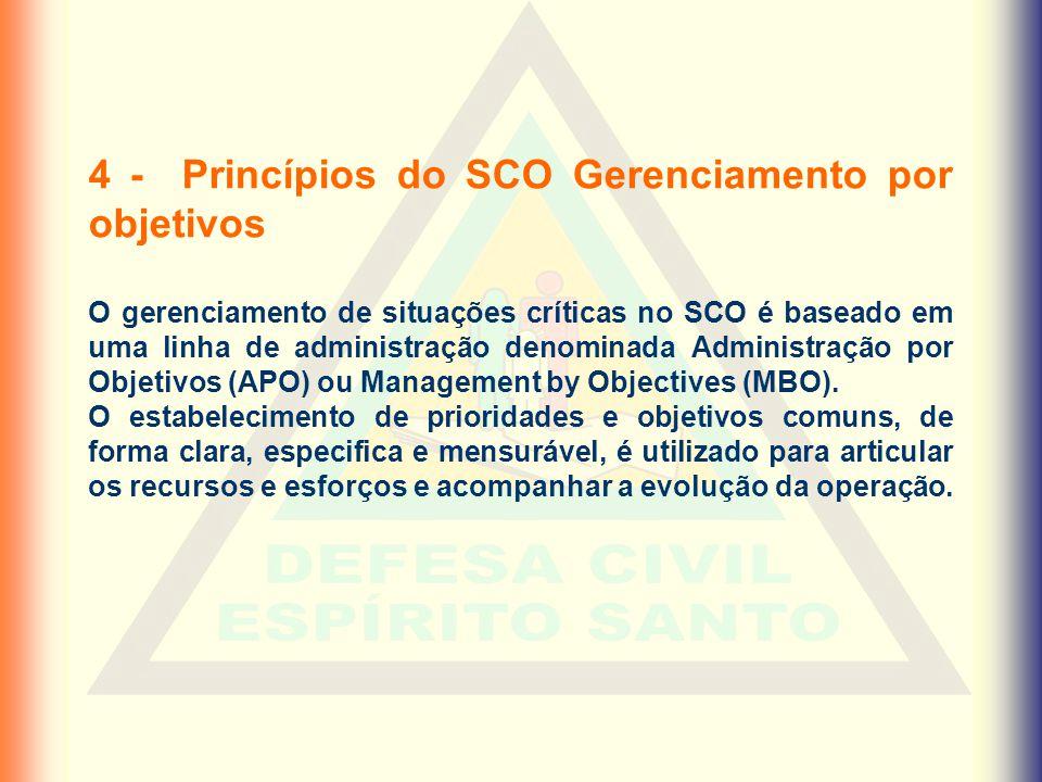 4 - Princípios do SCO Gerenciamento por objetivos O gerenciamento de situações críticas no SCO é baseado em uma linha de administração denominada Admi