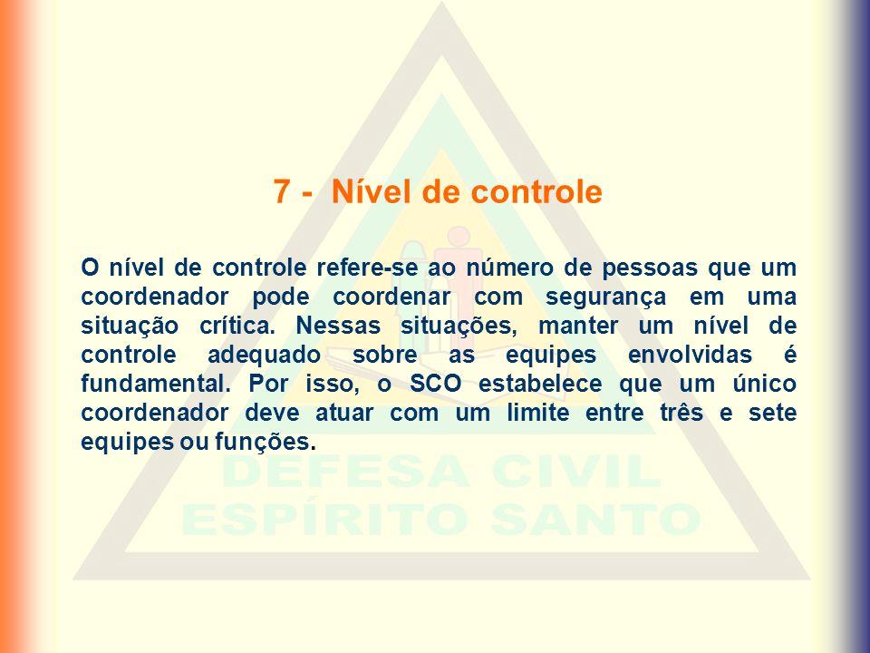 7 - Nível de controle O nível de controle refere-se ao número de pessoas que um coordenador pode coordenar com segurança em uma situação crítica. Ness