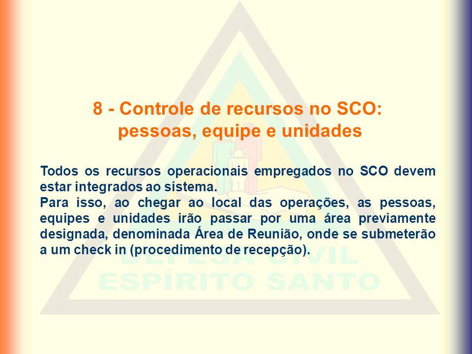 8 - Controle de recursos no SCO: pessoas, equipe e unidades Todos os recursos operacionais empregados no SCO devem estar integrados ao sistema. Para i