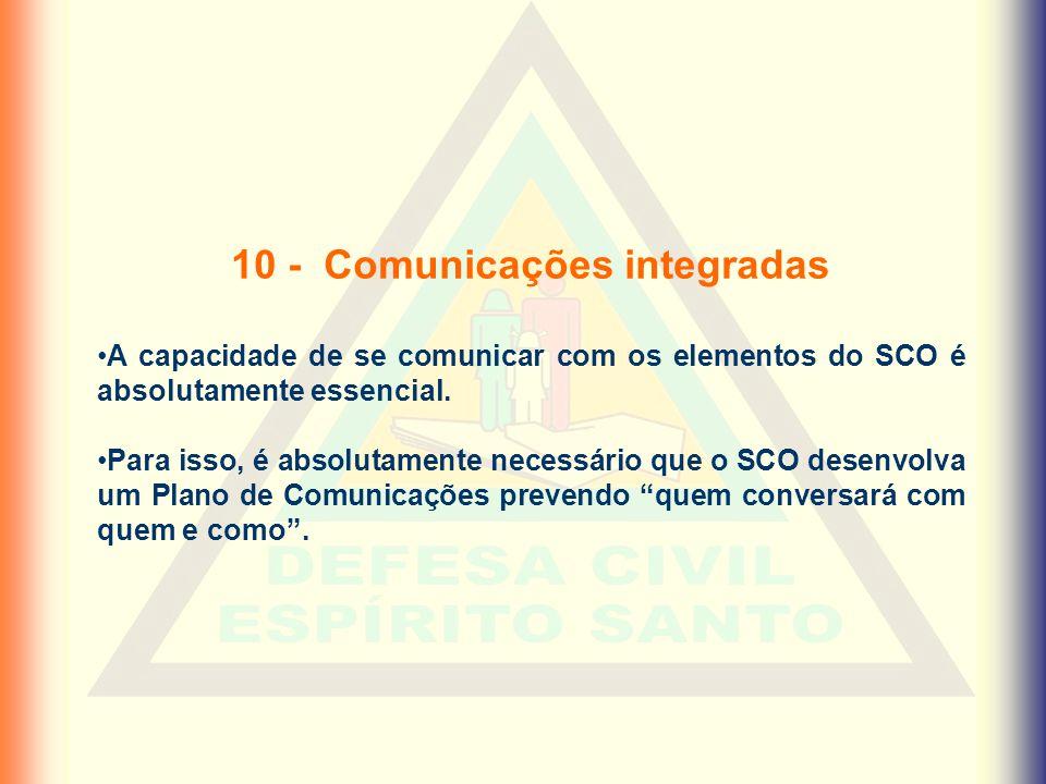 10 - Comunicações integradas •A capacidade de se comunicar com os elementos do SCO é absolutamente essencial. •Para isso, é absolutamente necessário q