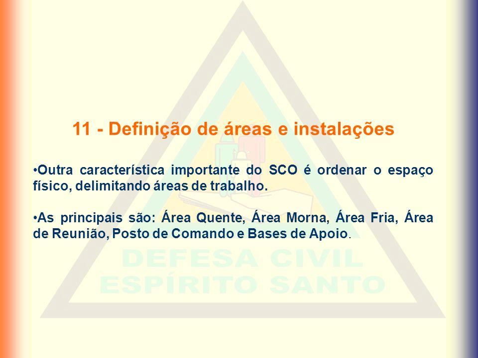 11 - Definição de áreas e instalações •Outra característica importante do SCO é ordenar o espaço físico, delimitando áreas de trabalho. •As principais
