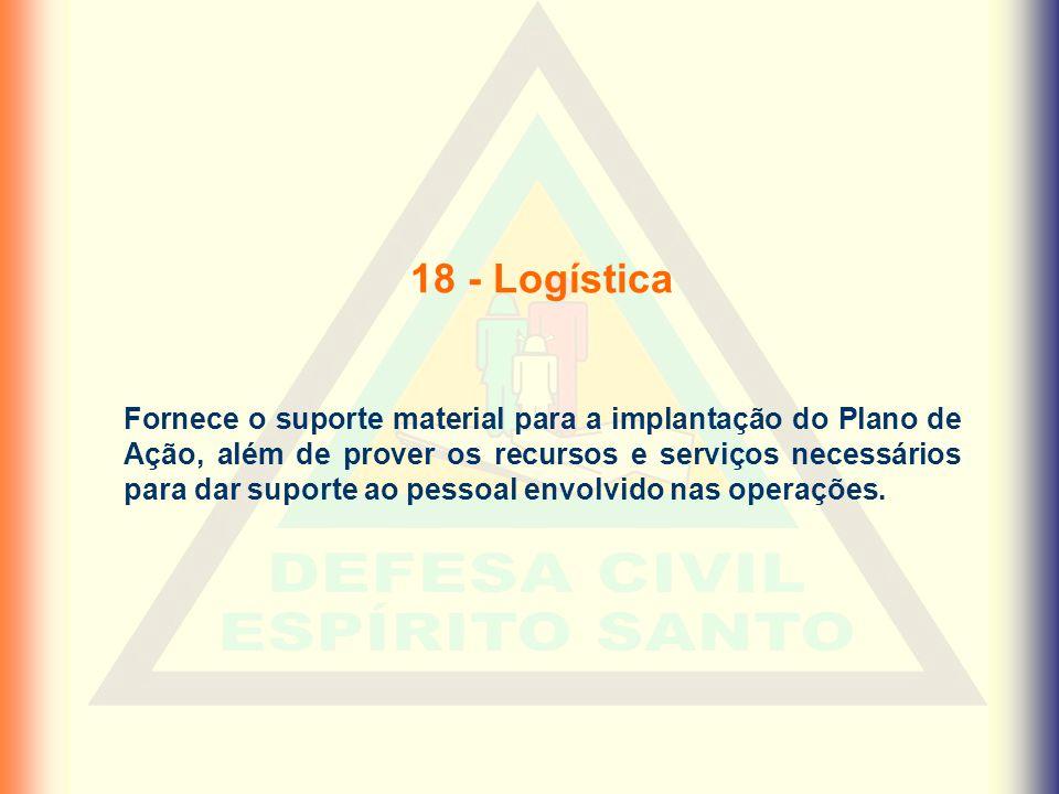 18 - Logística Fornece o suporte material para a implantação do Plano de Ação, além de prover os recursos e serviços necessários para dar suporte ao p