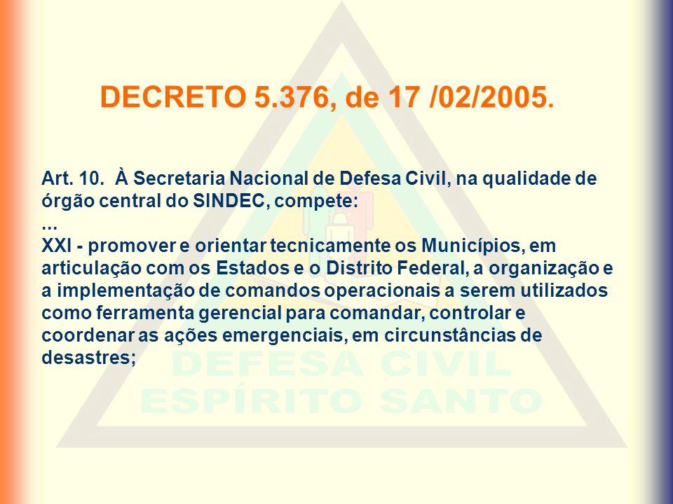 DECRETO 5.376, de 17 /02/2005. Art. 10. À Secretaria Nacional de Defesa Civil, na qualidade de órgão central do SINDEC, compete:... XXI - promover e o