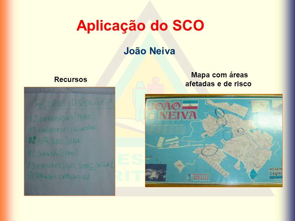 Aplicação do SCO João Neiva Recursos Mapa com áreas afetadas e de risco