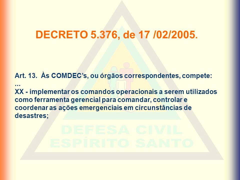 Art. 13. Às COMDEC's, ou órgãos correspondentes, compete:... XX - implementar os comandos operacionais a serem utilizados como ferramenta gerencial pa