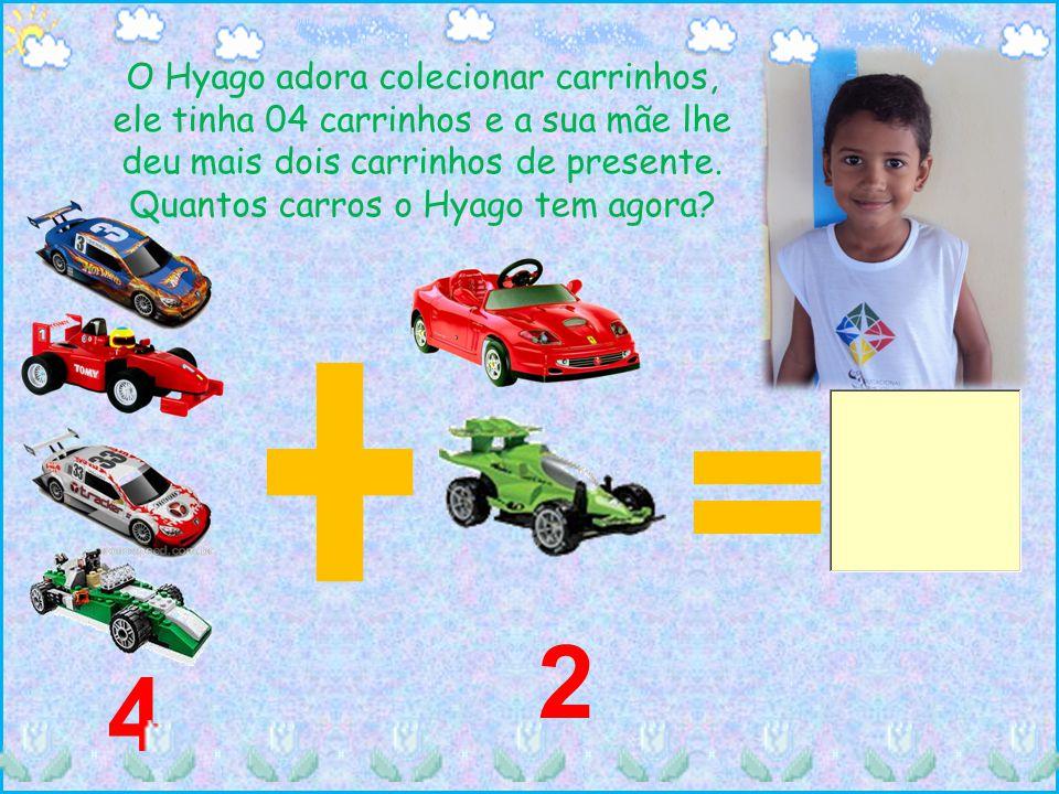 O Hyago adora colecionar carrinhos, ele tinha 04 carrinhos e a sua mãe lhe deu mais dois carrinhos de presente. Quantos carros o Hyago tem agora? 4 2