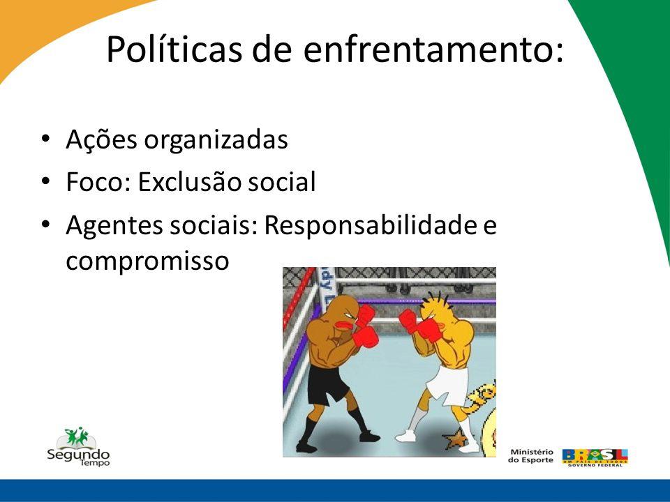 Políticas de enfrentamento: • Ações organizadas • Foco: Exclusão social • Agentes sociais: Responsabilidade e compromisso