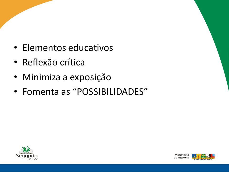 """• Elementos educativos • Reflexão crítica • Minimiza a exposição • Fomenta as """"POSSIBILIDADES"""""""