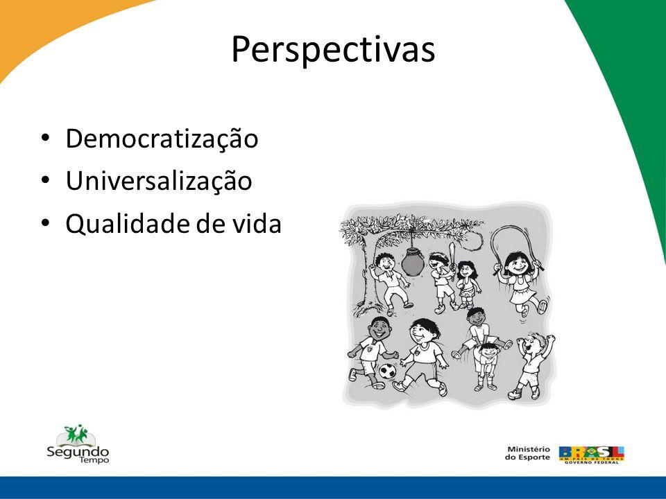 Perspectivas • Democratização • Universalização • Qualidade de vida