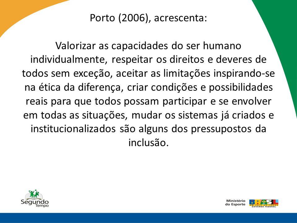 Porto (2006), acrescenta: Valorizar as capacidades do ser humano individualmente, respeitar os direitos e deveres de todos sem exceção, aceitar as lim