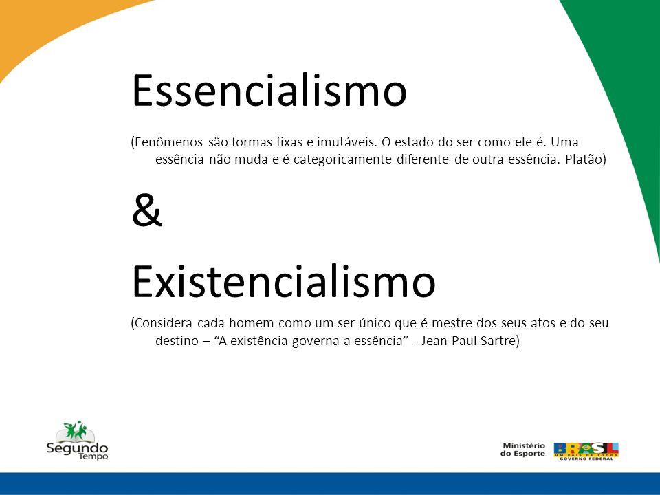 Essencialismo (Fenômenos são formas fixas e imutáveis. O estado do ser como ele é. Uma essência não muda e é categoricamente diferente de outra essênc