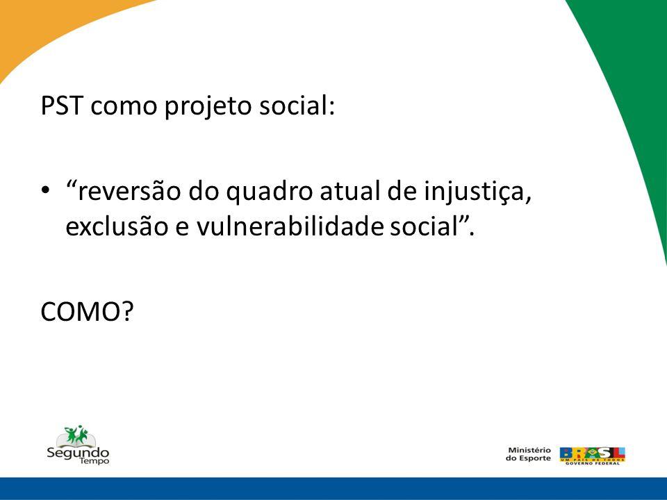 """PST como projeto social: • """"reversão do quadro atual de injustiça, exclusão e vulnerabilidade social"""". COMO?"""