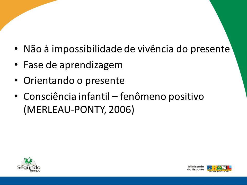 • Não à impossibilidade de vivência do presente • Fase de aprendizagem • Orientando o presente • Consciência infantil – fenômeno positivo (MERLEAU-PON