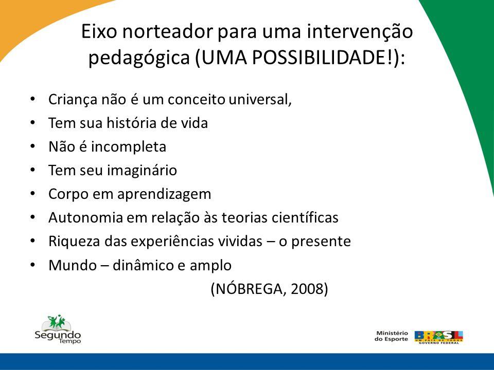 Eixo norteador para uma intervenção pedagógica (UMA POSSIBILIDADE!): • Criança não é um conceito universal, • Tem sua história de vida • Não é incompl