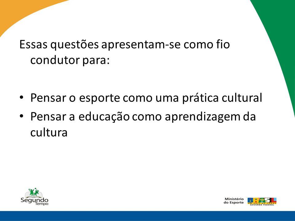 Essas questões apresentam-se como fio condutor para: • Pensar o esporte como uma prática cultural • Pensar a educação como aprendizagem da cultura
