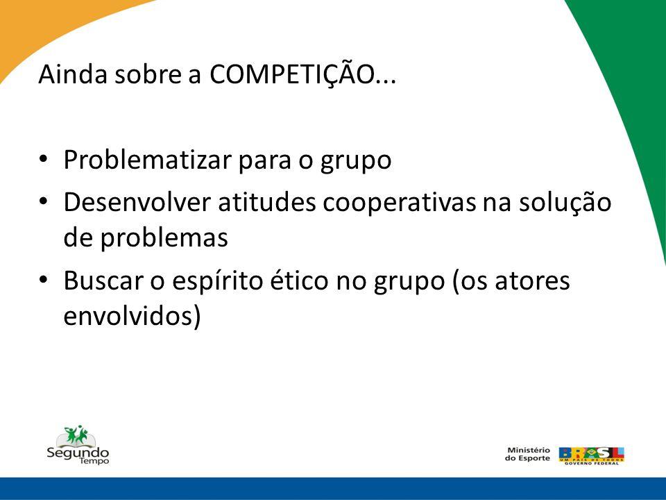 Ainda sobre a COMPETIÇÃO... • Problematizar para o grupo • Desenvolver atitudes cooperativas na solução de problemas • Buscar o espírito ético no grup