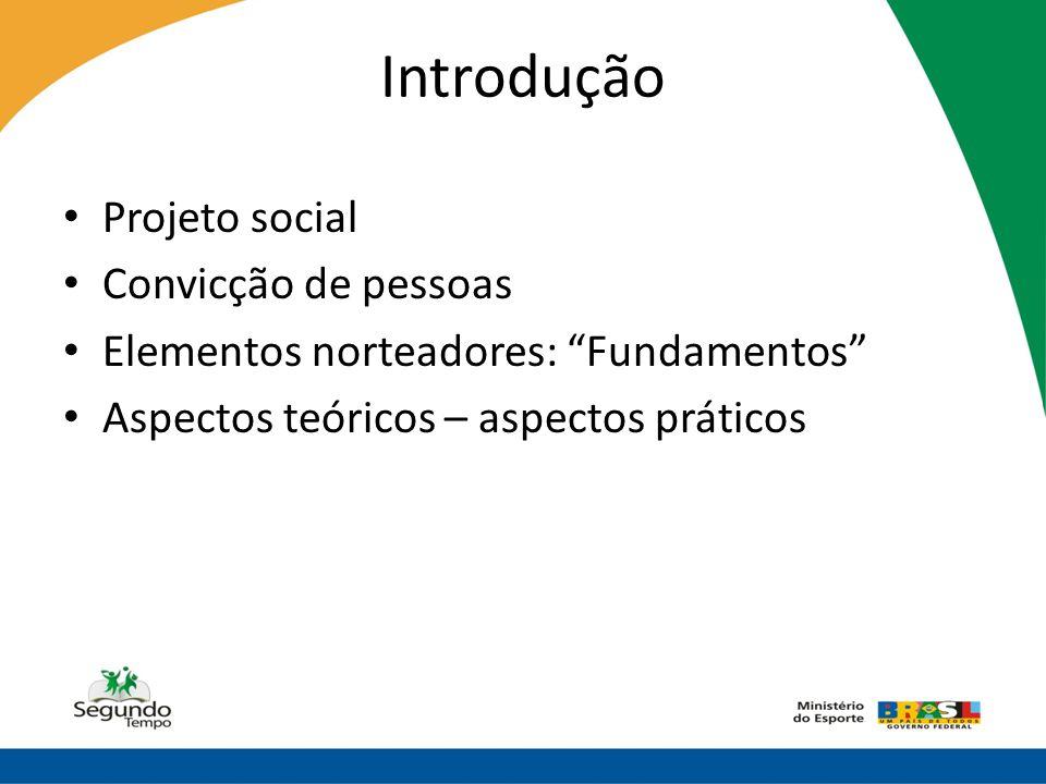"""Introdução • Projeto social • Convicção de pessoas • Elementos norteadores: """"Fundamentos"""" • Aspectos teóricos – aspectos práticos"""