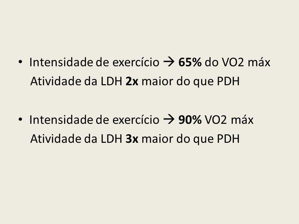 • Intensidade de exercício  65% do VO2 máx Atividade da LDH 2x maior do que PDH • Intensidade de exercício  90% VO2 máx Atividade da LDH 3x maior do