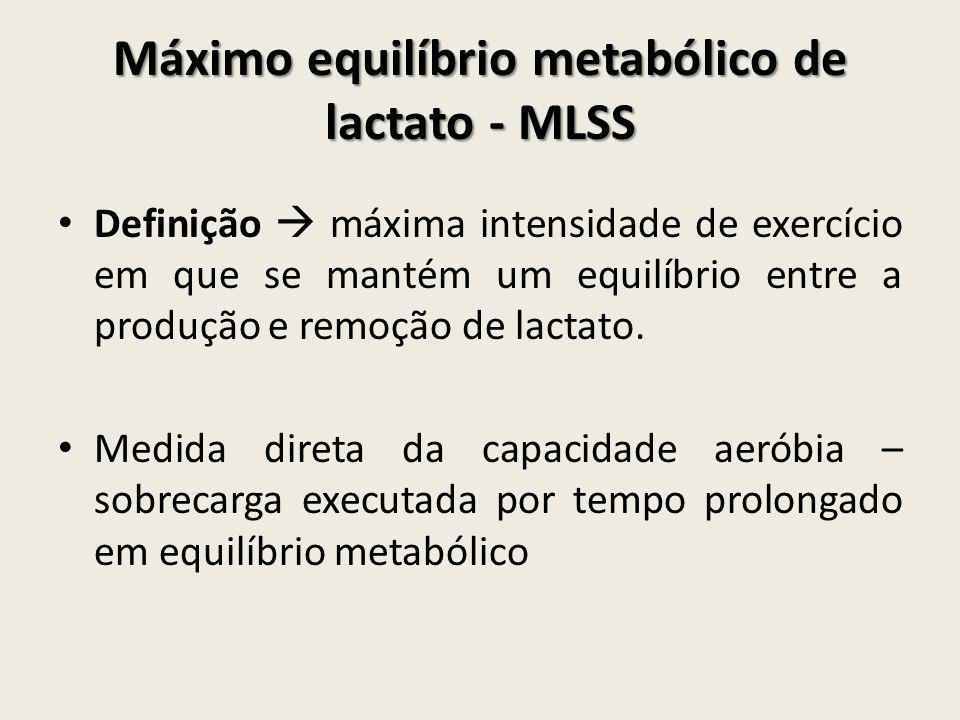 Máximo equilíbrio metabólico de lactato - MLSS • Definição  máxima intensidade de exercício em que se mantém um equilíbrio entre a produção e remoção